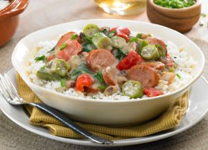 Image of Andouille and Chicken Gumbo with Black-eyed Peas and Greens