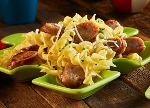 Image of Buttered Noodles with Brat Slices