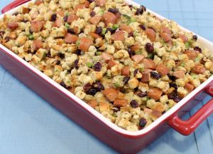 Chicken Sausage Stuffing with Cranberries