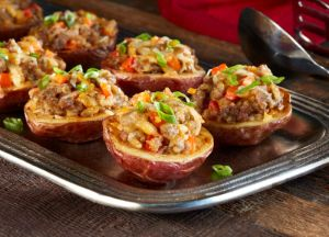 Chile and Roasted Garlic Sausage Stuffed Red Potatoes