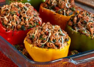 Chili and Roasted Garlic Stuffed Peppers