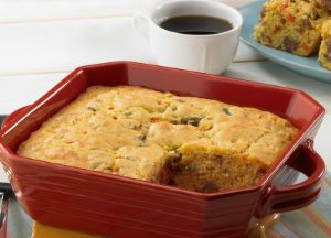 Image of Cornbread with Italian Hot Ground Sausage and Red Peppers