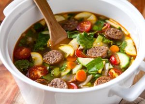 Image of Farmer's Market Sausage Soup -- Sizzling Sausage Grill Recipe