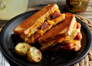 Fried Green Tomato & Sausage with Pimento Cheese Panini