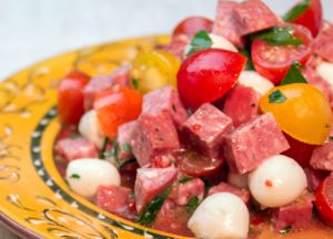 Image of Garlic Summer Sausage, Garden Tomato and Mozzarella Salad
