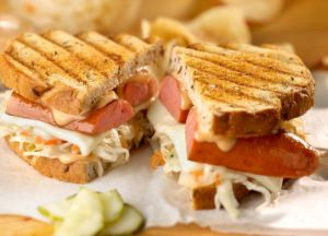 Image of Grilled Reuben Sandwich with Polish Kielbasa