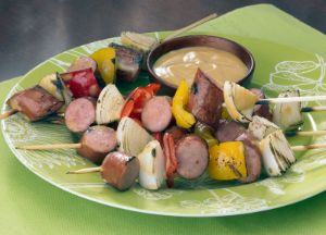 Image of Honey Mustard Turkey Sausage Skewers