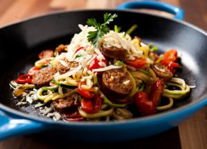 Image of Italian Sausage & Zucchini Noodle Skillet -- Sizzling Sausage Grill Recipe