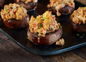 Johnsonville Chile & Roasted Garlic Sausage Stuffed Mushrooms