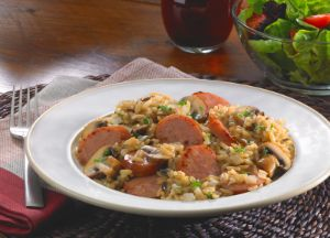 Image of Colorful Wild Rice with Kielbasa and Mushroom