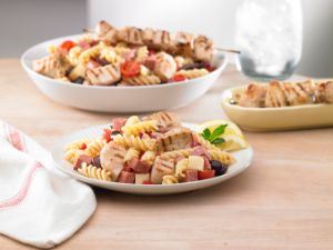 Mediterranean Pasta Salad with Lemon and Herb Chicken