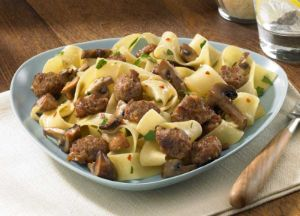 Image of Pappardelle with Sizzled Italian Sausage and Mushrooms