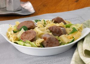 Image of Sausage, Cabbage and Noodle Skillet