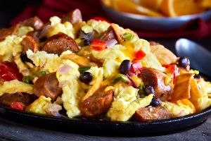 Queso Brat Texas Scramble