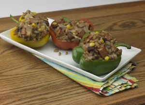 Image of Red Beans and Rice Stuffed Peppers with Andouille Sausage