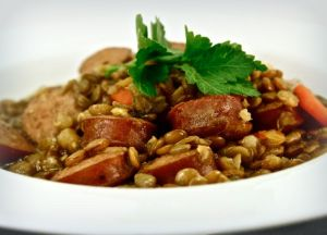Rustic Lentil Stew with Johnsonville Apple Chicken Sausage