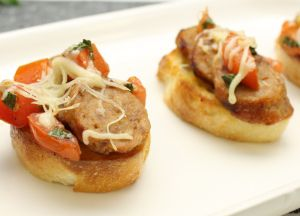 Image of Sausage Bruschetta -- Sizzling Sausage Grill Recipe