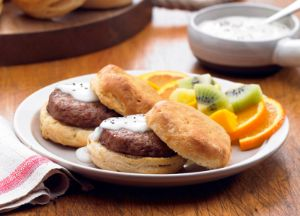 Sausage Patties with Biscuits and Gravy