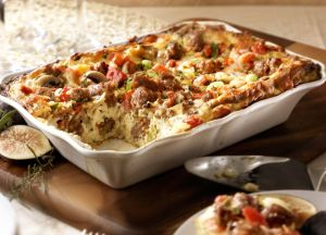 Sicilian Strata (Baked Egg) with Hot Italian Sausage
