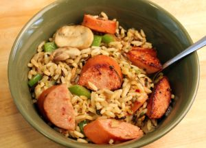 Smoked Sausage with Rice Pilaf