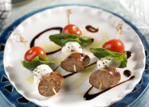 Image of Italian Sausage Caprese Skewer -- Sizzling Sausage Grill Recipe