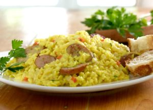 Johnsonville Three Cheese Italian Style Chicken Sausage and Yellow Rice