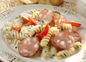 Three Cheese Sausage Pasta with Herbed Cream Sauce