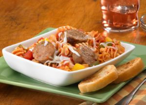 Zesty Pizza Casserole with Johnsonville Smoked Chicken Italian Sausage