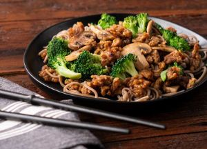 Image of Asian Sesame Pork with Mushrooms and Broccoli