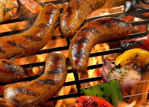 Image of Grilled Sausage with Marinated Shrimp, Peppers and Onions