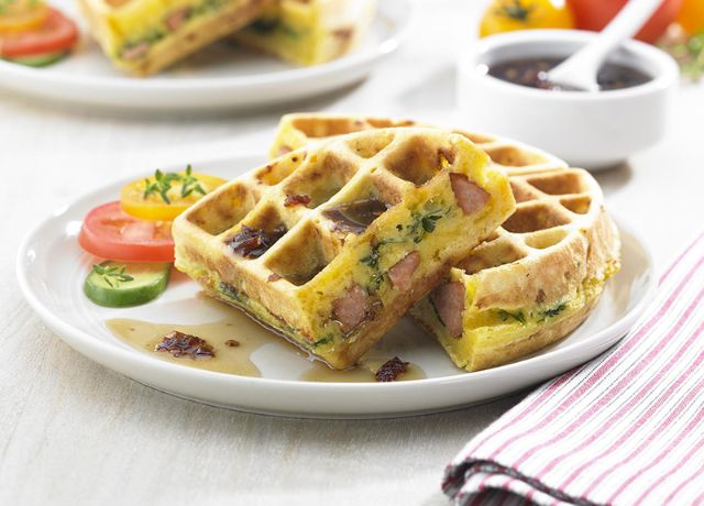 Image of Andouille Stuffed Cornbread Waffle with Chipotle Syrup
