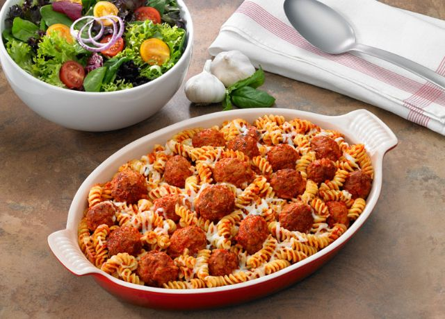 Image of Cheesy Baked Pasta with Meatballs