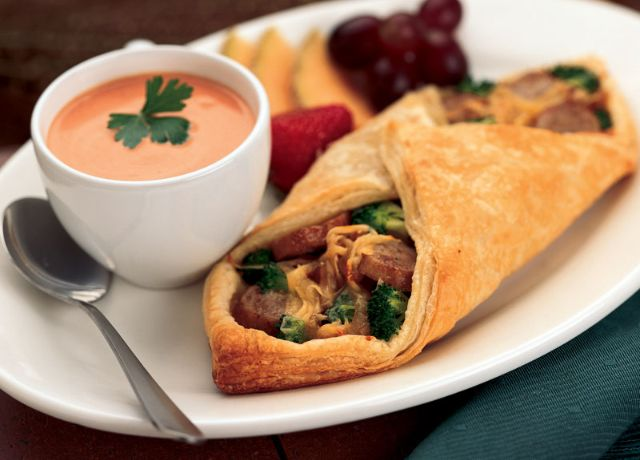Image of Cheesy Bratwurst & Broccoli Pastry Wraps