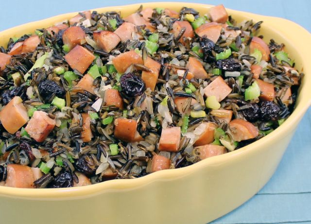 Image of Chicken Sausage and Wild Rice Stuffing with Dried Cherries