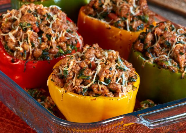 Image of Chili and Roasted Garlic Stuffed Peppers