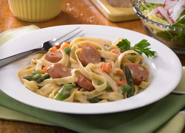 Image of Creamy Fettuccine with Three Cheese Sausage