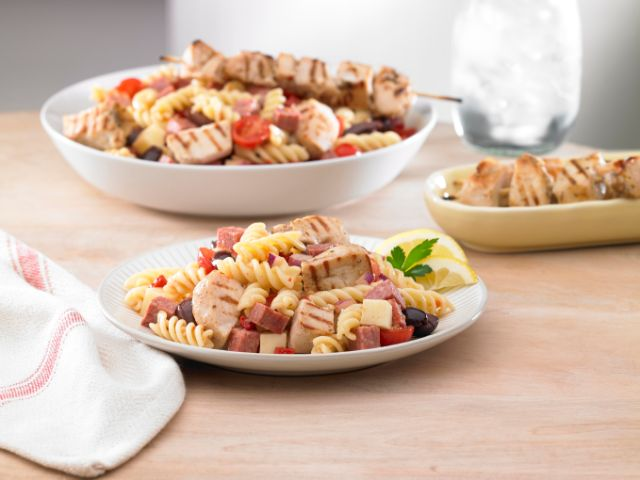 Image of Mediterranean Pasta Salad with Lemon and Herb Chicken