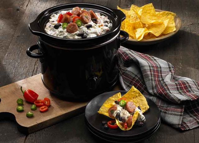 Image of Queso Blanco & Black Bean Slow Cooker Dip