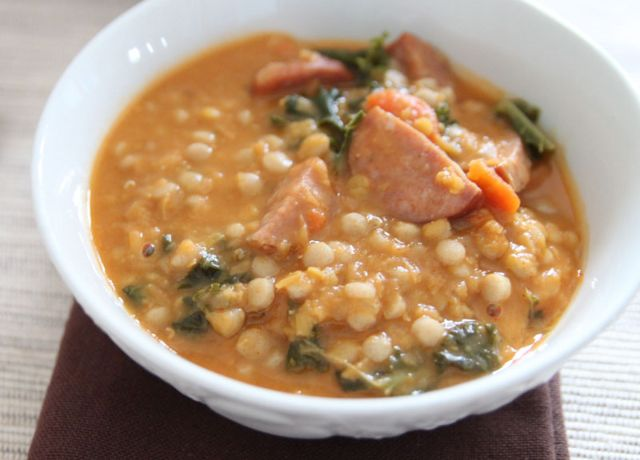 Image of Red Lentil, Couscous, and Sausage Soup