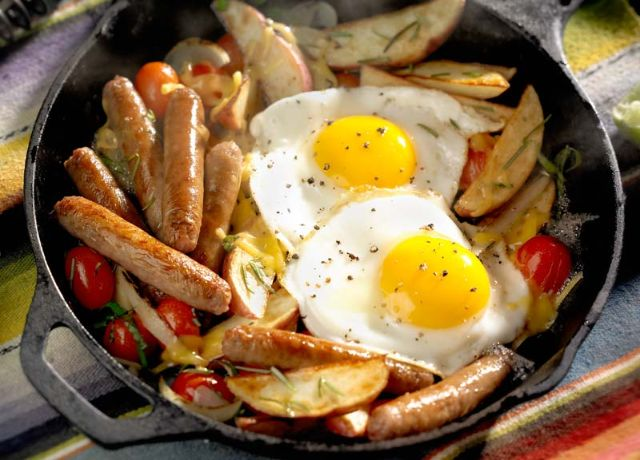 Image of Sausage Breakfast Skillet with Sautéed Tomatoes & Basil