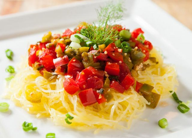 Image of Sausage, Peppers & Spaghetti Squash -- Sizzling Sausage Grill Recipe