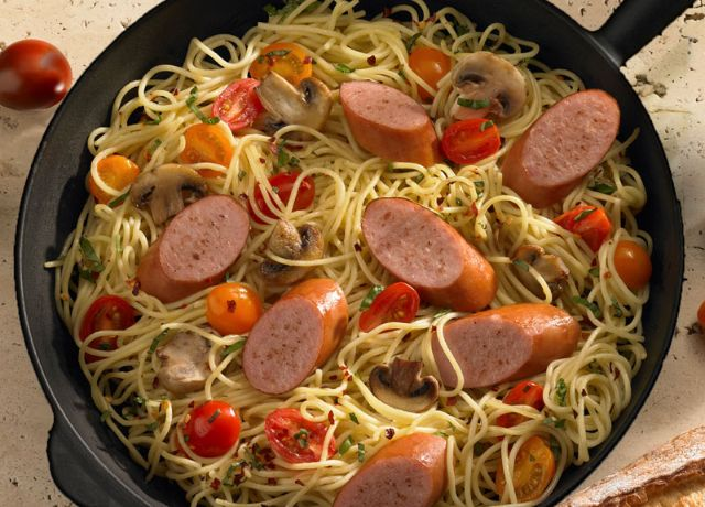 Image of Smoked Sausage and Spaghetti Skillet Dinner
