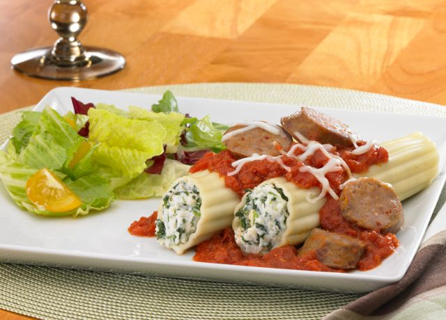 Image of Spinach and Cheese Baked Manicotti with Johnsonville Italian Sausage