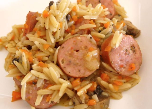 Image of Three Cheese Italian Sausage and Vegetable Orzo