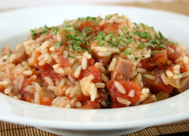 Image of Tomato and Rice with Kielbasa