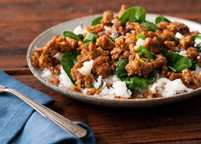 Image of Asian Style Sesame Pork with Spinach and Rice